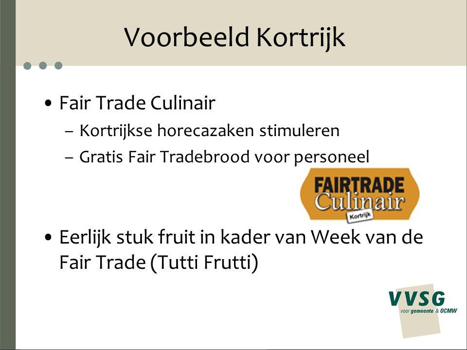 Voorbeeld Kortrijk Fair Trade Culinair –Kortrijkse horecazaken stimuleren –Gratis Fair Tradebrood voor personeel Eerlijk stuk fruit in kader van Week van de Fair Trade (Tutti Frutti)