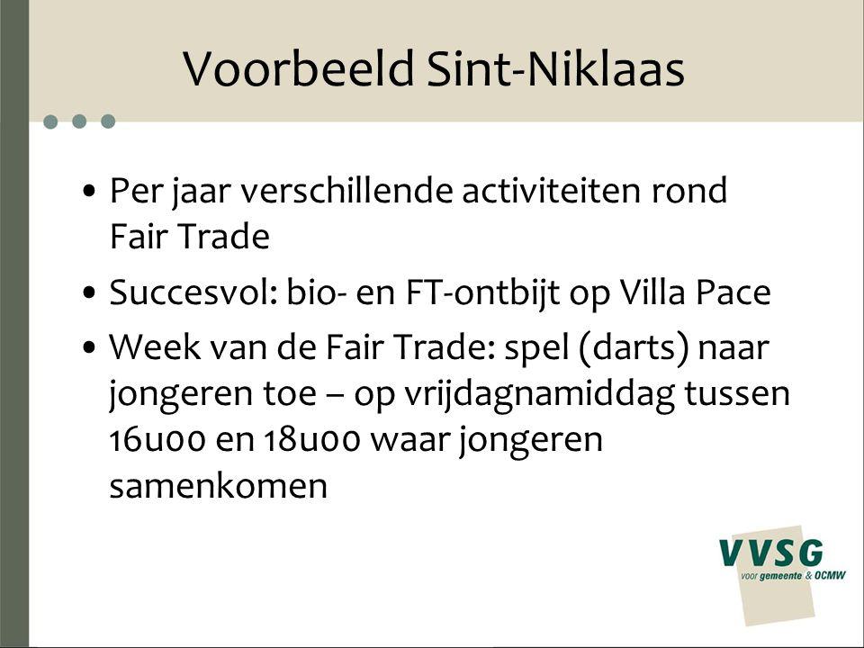 Voorbeeld Sint-Niklaas Per jaar verschillende activiteiten rond Fair Trade Succesvol: bio- en FT-ontbijt op Villa Pace Week van de Fair Trade: spel (darts) naar jongeren toe – op vrijdagnamiddag tussen 16u00 en 18u00 waar jongeren samenkomen