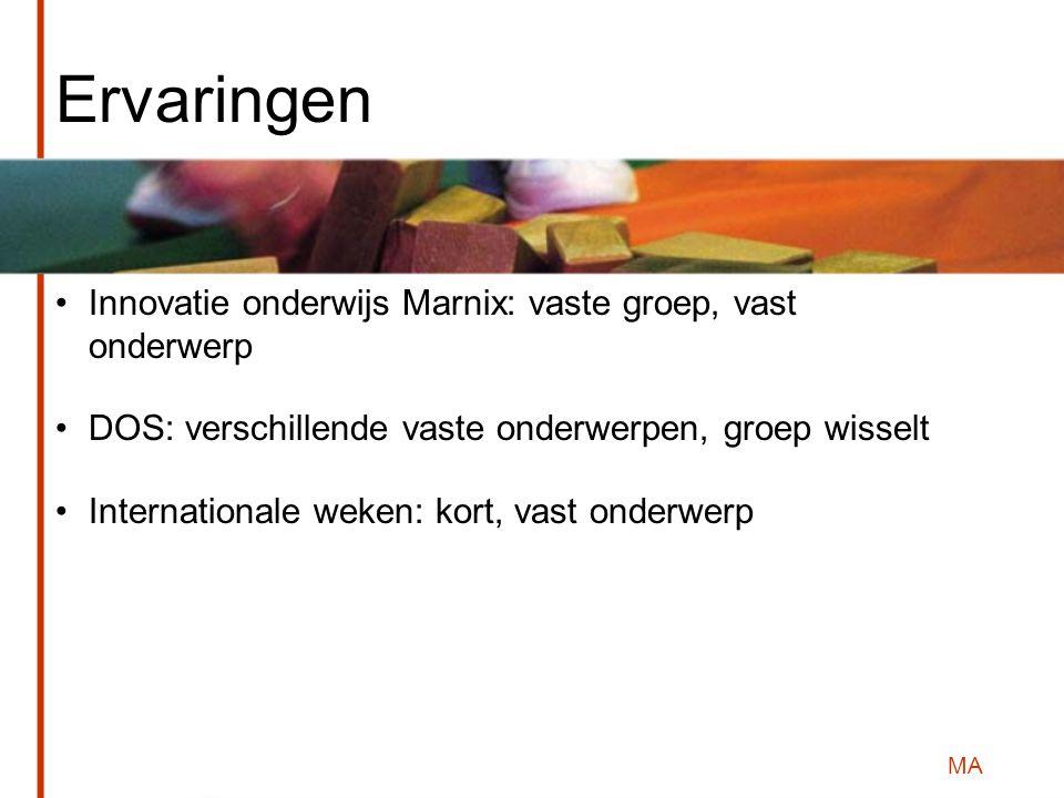 MA Ervaringen Innovatie onderwijs Marnix: vaste groep, vast onderwerp DOS: verschillende vaste onderwerpen, groep wisselt Internationale weken: kort, vast onderwerp