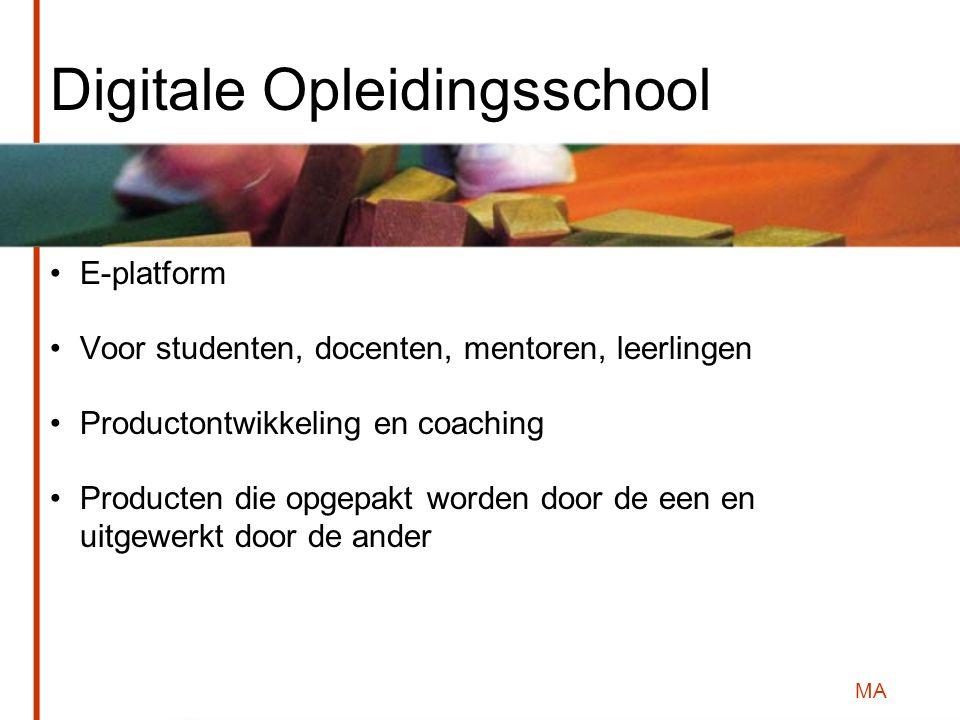 MA Digitale Opleidingsschool E-platform Voor studenten, docenten, mentoren, leerlingen Productontwikkeling en coaching Producten die opgepakt worden door de een en uitgewerkt door de ander