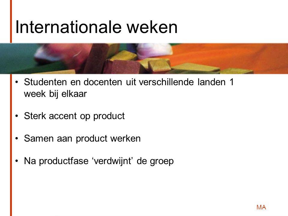 MA Internationale weken Studenten en docenten uit verschillende landen 1 week bij elkaar Sterk accent op product Samen aan product werken Na productfase 'verdwijnt' de groep