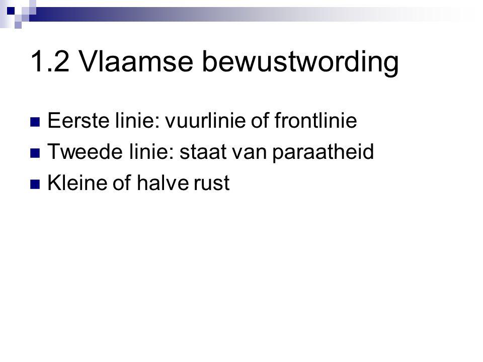 Eerste linie: vuurlinie of frontlinie Tweede linie: staat van paraatheid Kleine of halve rust