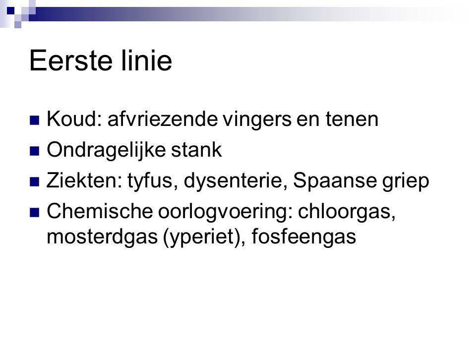Eerste linie Koud: afvriezende vingers en tenen Ondragelijke stank Ziekten: tyfus, dysenterie, Spaanse griep Chemische oorlogvoering: chloorgas, mosterdgas (yperiet), fosfeengas