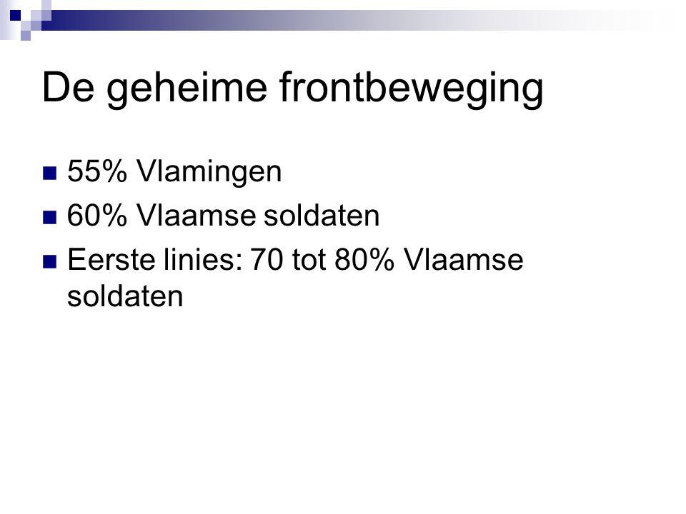 De geheime frontbeweging 55% Vlamingen 60% Vlaamse soldaten Eerste linies: 70 tot 80% Vlaamse soldaten