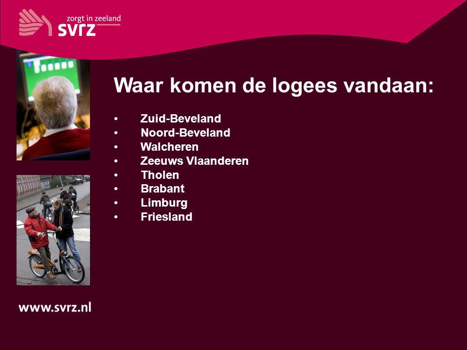 Waar komen de logees vandaan: Zuid-Beveland Noord-Beveland Walcheren Zeeuws Vlaanderen Tholen Brabant Limburg Friesland