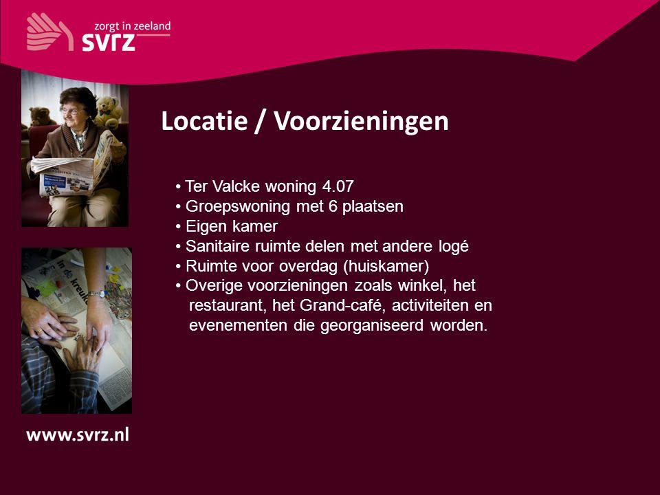 Locatie / Voorzieningen Ter Valcke woning 4.07 Groepswoning met 6 plaatsen Eigen kamer Sanitaire ruimte delen met andere logé Ruimte voor overdag (hui
