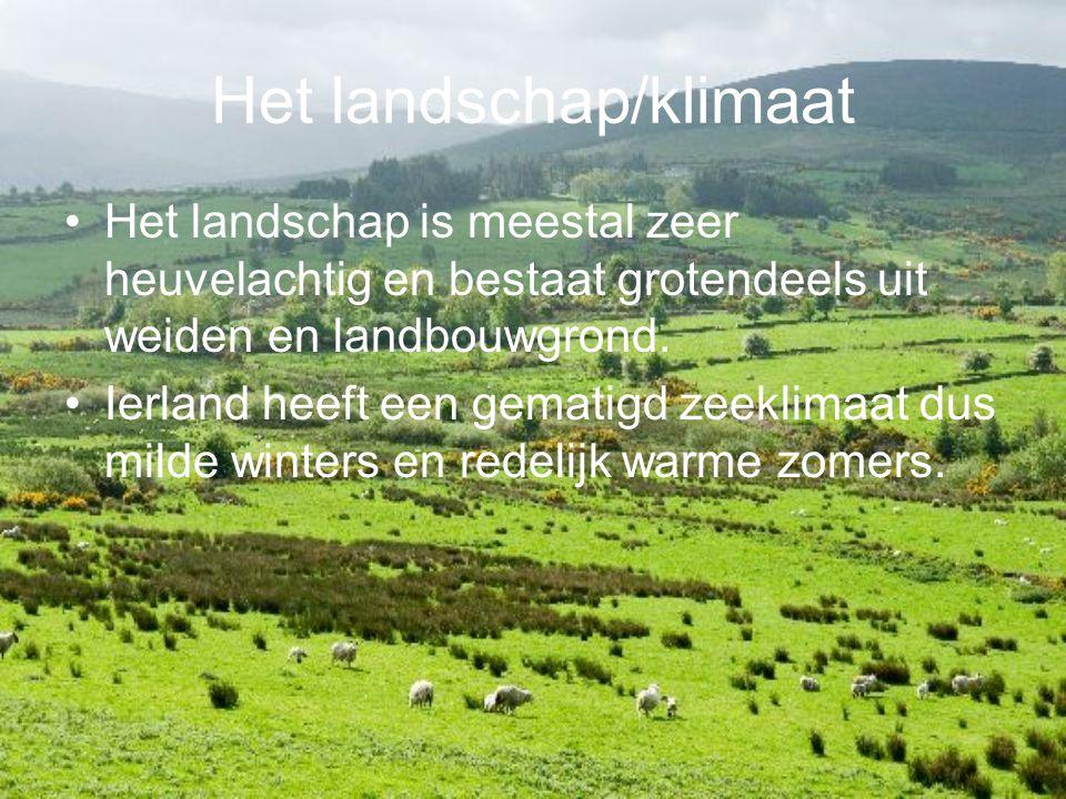 Het landschap/klimaat Het landschap is meestal zeer heuvelachtig en bestaat grotendeels uit weiden en landbouwgrond. Ierland heeft een gematigd zeekli