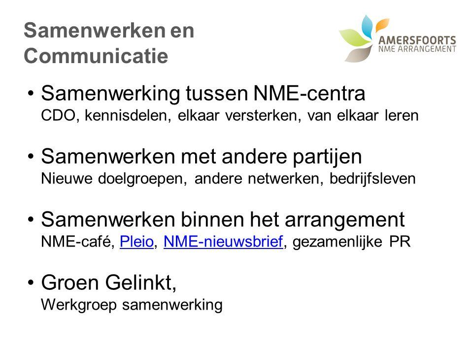 Samenwerken en Communicatie Samenwerking tussen NME-centra CDO, kennisdelen, elkaar versterken, van elkaar leren Samenwerken met andere partijen Nieuw