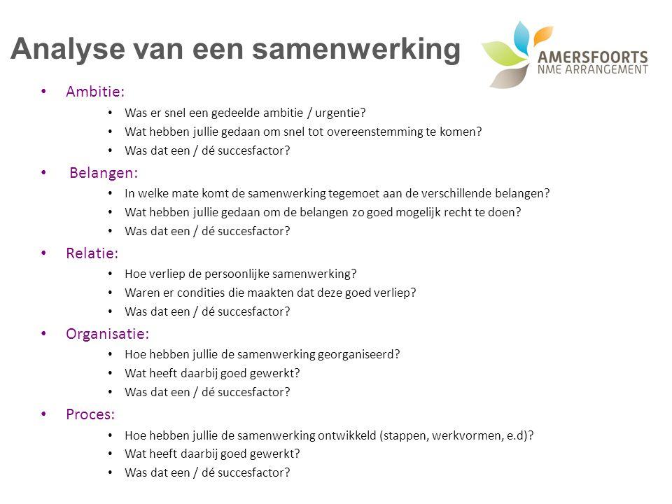 Analyse van een samenwerking Ambitie: Was er snel een gedeelde ambitie / urgentie? Wat hebben jullie gedaan om snel tot overeenstemming te komen? Was