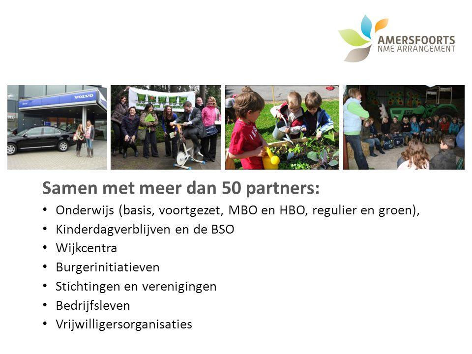 Samen met meer dan 50 partners: Onderwijs (basis, voortgezet, MBO en HBO, regulier en groen), Kinderdagverblijven en de BSO Wijkcentra Burgerinitiatie