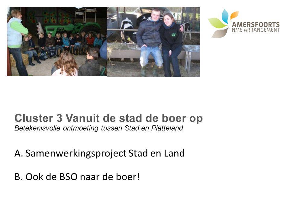 Cluster 3 Vanuit de stad de boer op Betekenisvolle ontmoeting tussen Stad en Platteland A.Samenwerkingsproject Stad en Land B.Ook de BSO naar de boer!