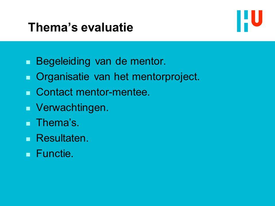 Thema's evaluatie n Begeleiding van de mentor. n Organisatie van het mentorproject.