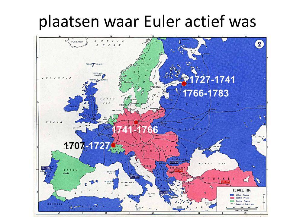 plaatsen waar Euler actief was 1707-1727 1741-1766 1727-1741 1766-1783