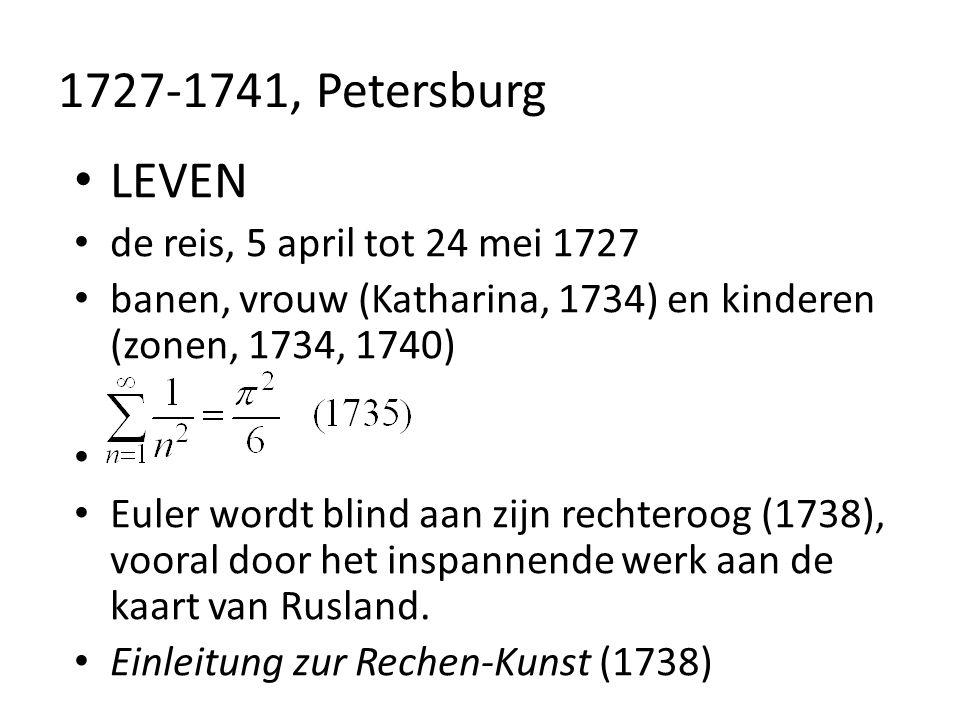1727-1741, Petersburg LEVEN de reis, 5 april tot 24 mei 1727 banen, vrouw (Katharina, 1734) en kinderen (zonen, 1734, 1740) Euler wordt blind aan zijn
