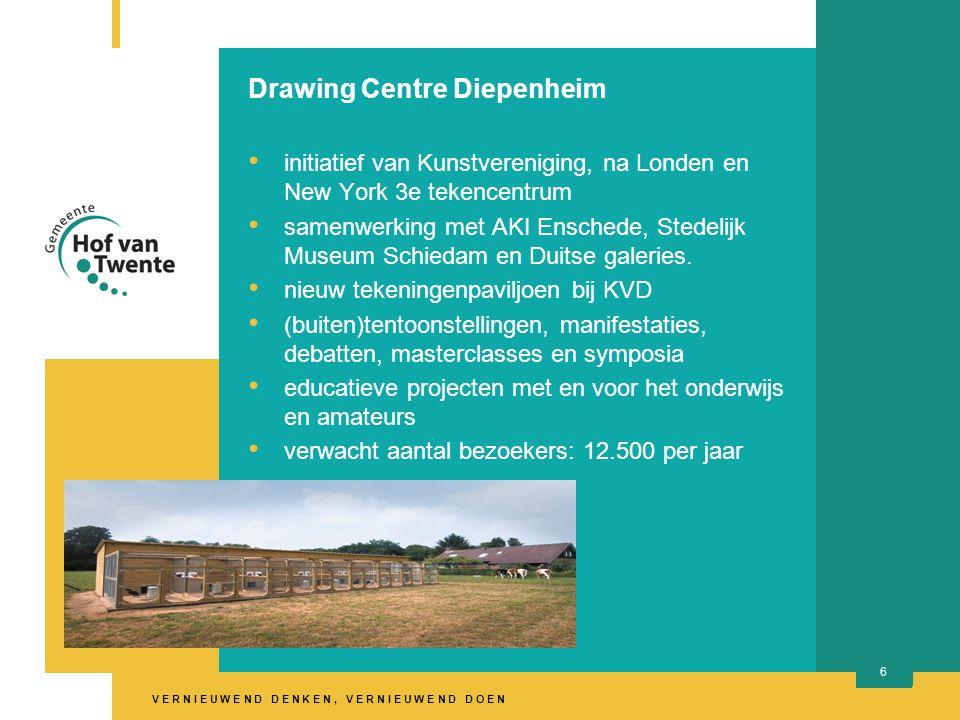 V E R N I E U W E N D D E N K E N, V E R N I E U W E N D D O E N 6 Drawing Centre Diepenheim initiatief van Kunstvereniging, na Londen en New York 3e tekencentrum samenwerking met AKI Enschede, Stedelijk Museum Schiedam en Duitse galeries.