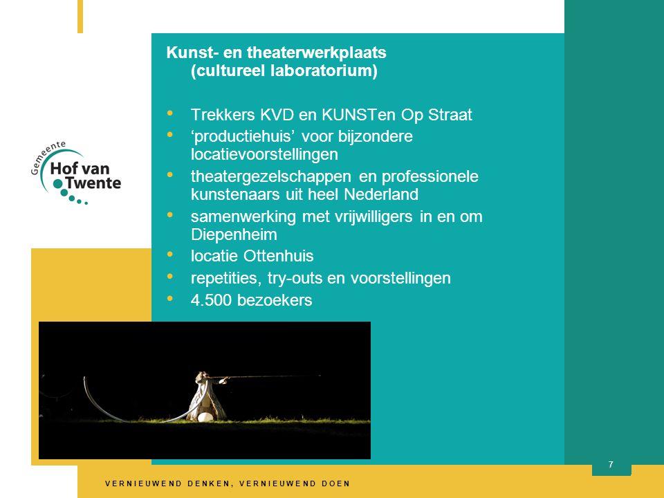 V E R N I E U W E N D D E N K E N, V E R N I E U W E N D D O E N 7 Kunst- en theaterwerkplaats (cultureel laboratorium) Trekkers KVD en KUNSTen Op Straat 'productiehuis' voor bijzondere locatievoorstellingen theatergezelschappen en professionele kunstenaars uit heel Nederland samenwerking met vrijwilligers in en om Diepenheim locatie Ottenhuis repetities, try-outs en voorstellingen 4.500 bezoekers