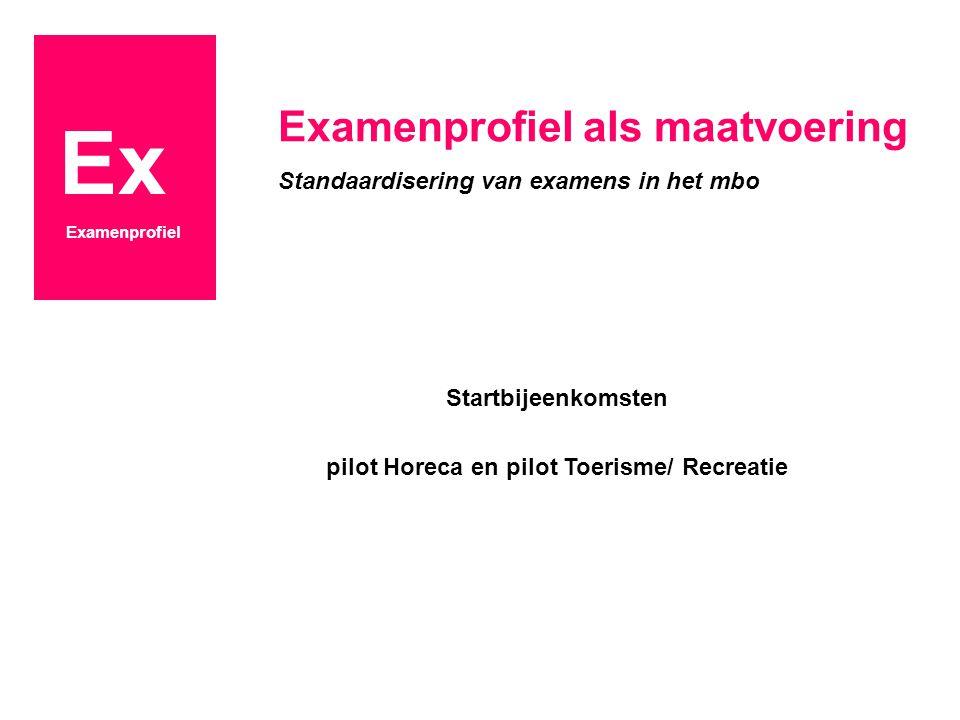 Ex Examenprofiel Startbijeenkomsten pilot Horeca en pilot Toerisme/ Recreatie Examenprofiel als maatvoering Standaardisering van examens in het mbo