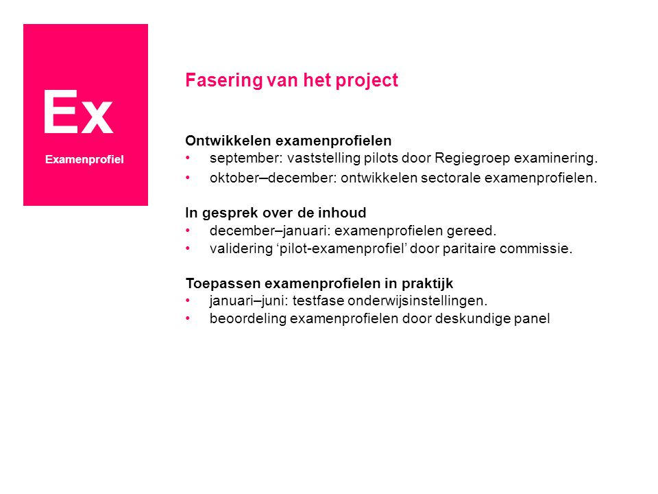 Ex Examenprofiel Fasering van het project Ontwikkelen examenprofielen september: vaststelling pilots door Regiegroep examinering.