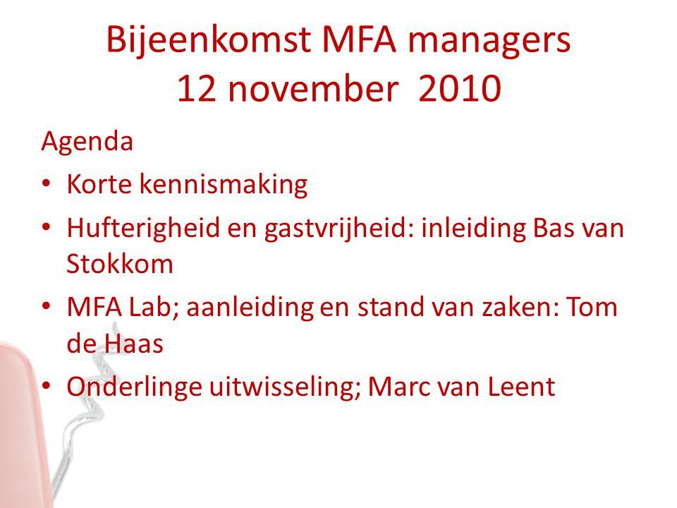 Bijeenkomst MFA managers 12 november 2010 Agenda Korte kennismaking Hufterigheid en gastvrijheid: inleiding Bas van Stokkom MFA Lab; aanleiding en sta
