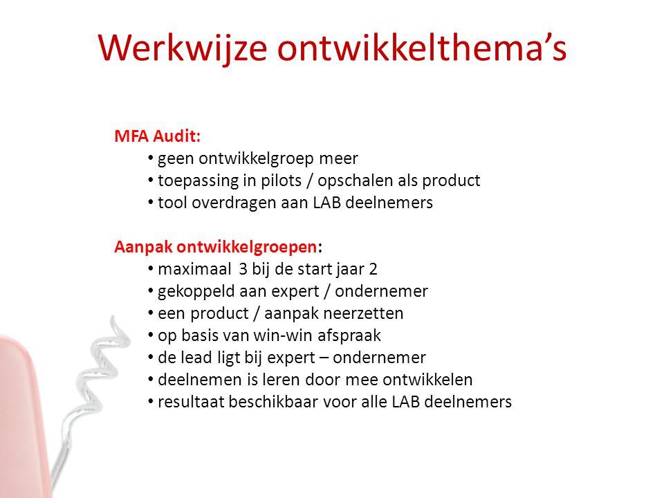 MFA Audit: geen ontwikkelgroep meer toepassing in pilots / opschalen als product tool overdragen aan LAB deelnemers Aanpak ontwikkelgroepen: maximaal