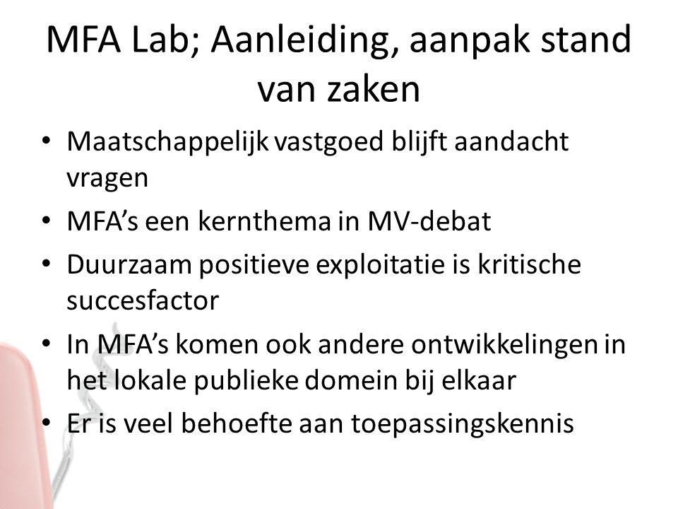 MFA Lab; Aanleiding, aanpak stand van zaken Maatschappelijk vastgoed blijft aandacht vragen MFA's een kernthema in MV-debat Duurzaam positieve exploitatie is kritische succesfactor In MFA's komen ook andere ontwikkelingen in het lokale publieke domein bij elkaar Er is veel behoefte aan toepassingskennis