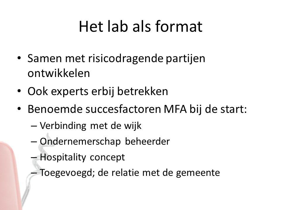 Het lab als format Samen met risicodragende partijen ontwikkelen Ook experts erbij betrekken Benoemde succesfactoren MFA bij de start: – Verbinding me