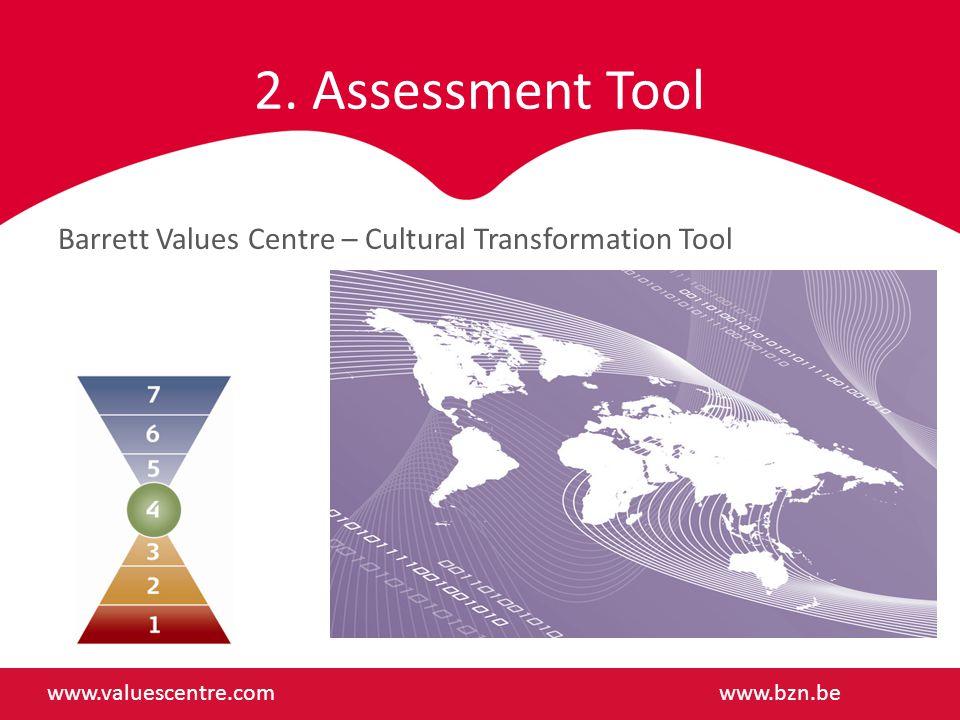 2. Assessment Tool Barrett Values Centre – Cultural Transformation Tool www.valuescentre.comwww.bzn.be