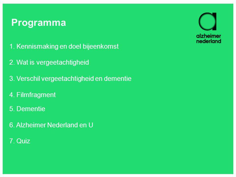 Programma 1. Kennismaking en doel bijeenkomst 2. Wat is vergeetachtigheid 3. Verschil vergeetachtigheid en dementie 4. Filmfragment 5. Dementie 6. Alz
