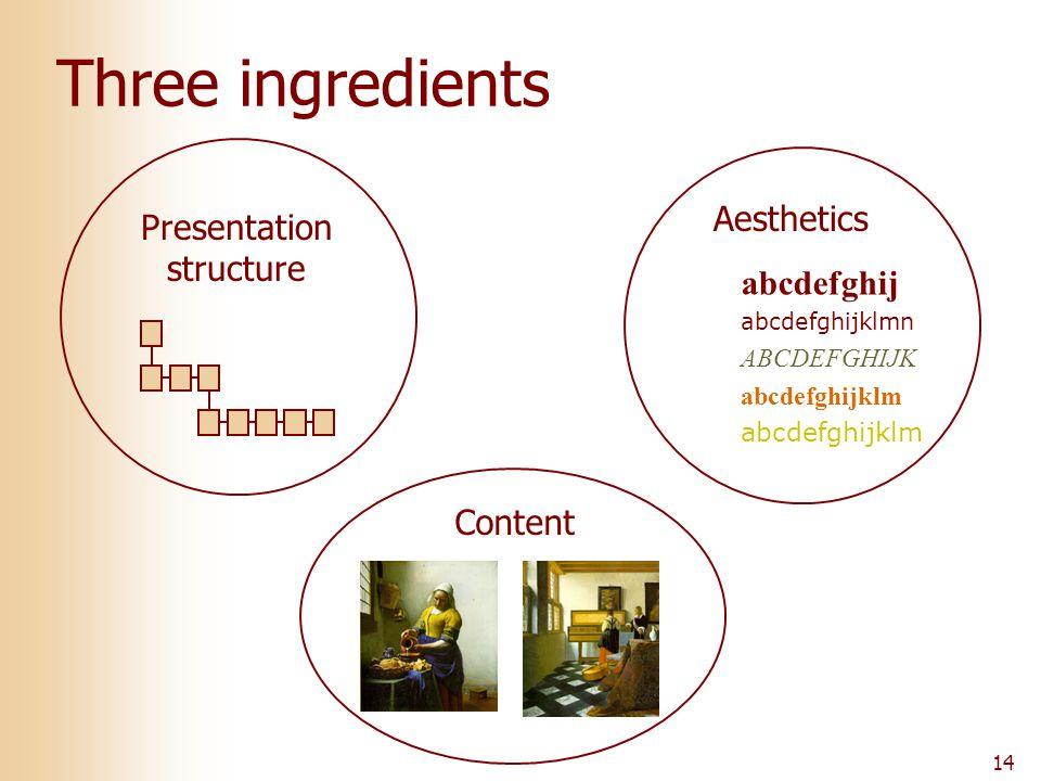 14 Three ingredients Content Presentation structure Aesthetics abcdefghij abcdefghijklmn ABCDEFGHIJK abcdefghijklm