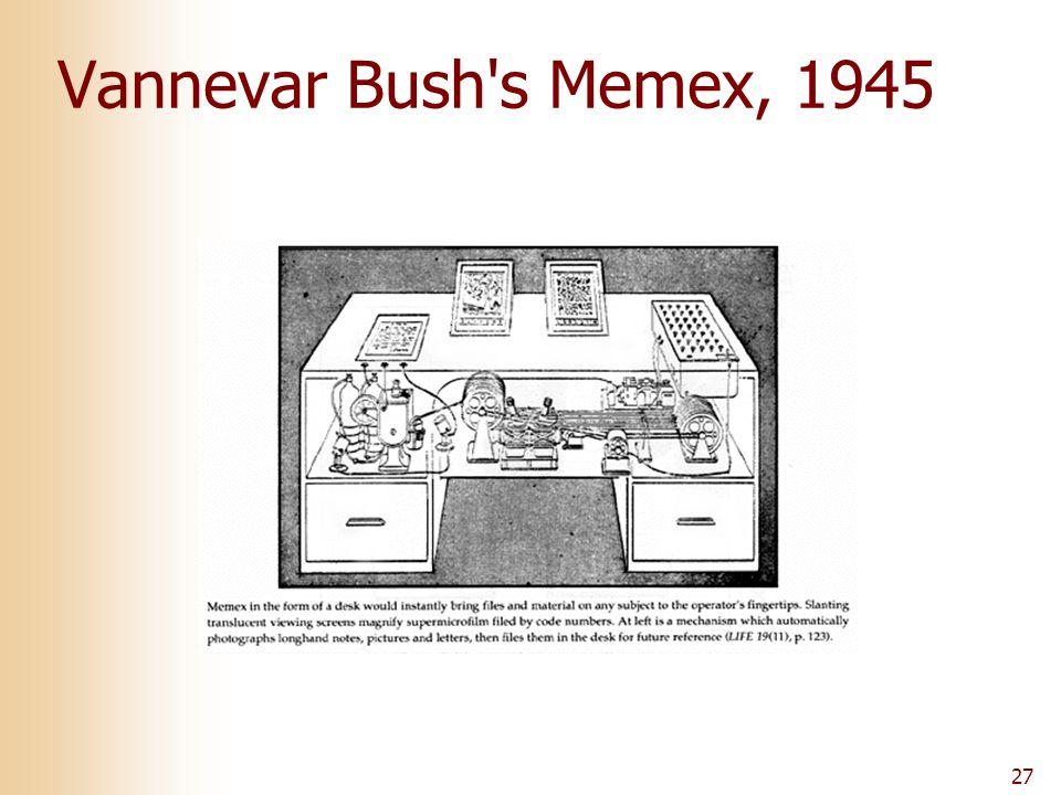 27 Vannevar Bush s Memex, 1945