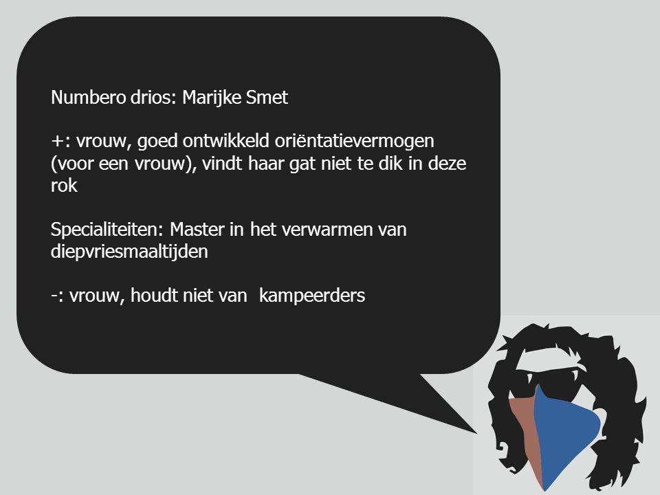 Numbero duo: Tim Maes +: is de Sint-Niklaase taal machtig; uitgebreide Bunny Collectie; Master in het discussi ë ren over B- H-V Specialiteiten: is goed in het bereiden van bloedpensen -: Humeurig