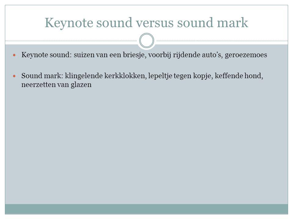 Keynote sound versus sound mark Keynote sound: suizen van een briesje, voorbij rijdende auto's, geroezemoes Sound mark: klingelende kerkklokken, lepeltje tegen kopje, keffende hond, neerzetten van glazen