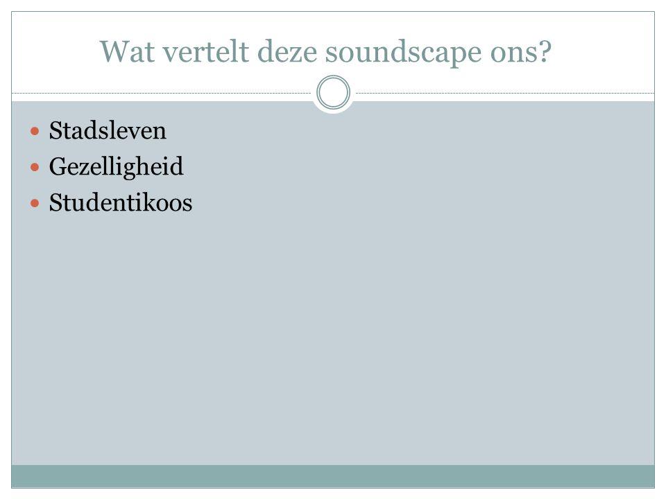 Wat vertelt deze soundscape ons? Stadsleven Gezelligheid Studentikoos