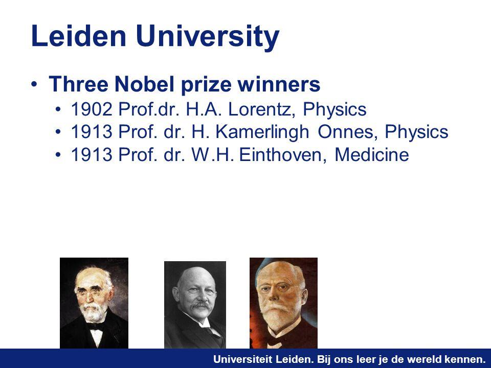 Universiteit Leiden. Bij ons leer je de wereld kennen. Leiden University Three Nobel prize winners 1902 Prof.dr. H.A. Lorentz, Physics 1913 Prof. dr.