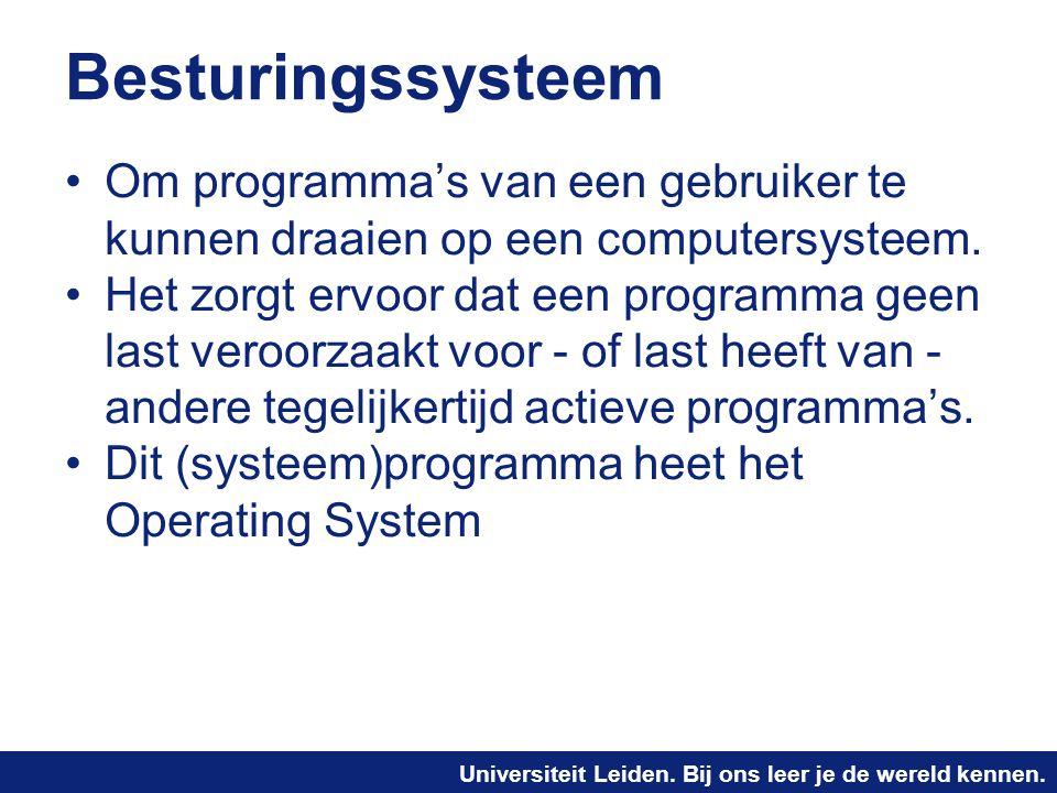 Universiteit Leiden. Bij ons leer je de wereld kennen. Besturingssysteem Om programma's van een gebruiker te kunnen draaien op een computersysteem. He