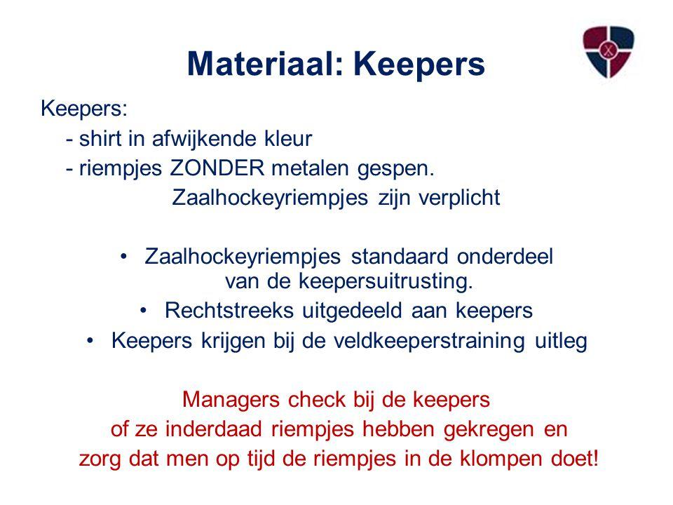 Materiaal: Keepers Keepers: - shirt in afwijkende kleur - riempjes ZONDER metalen gespen.