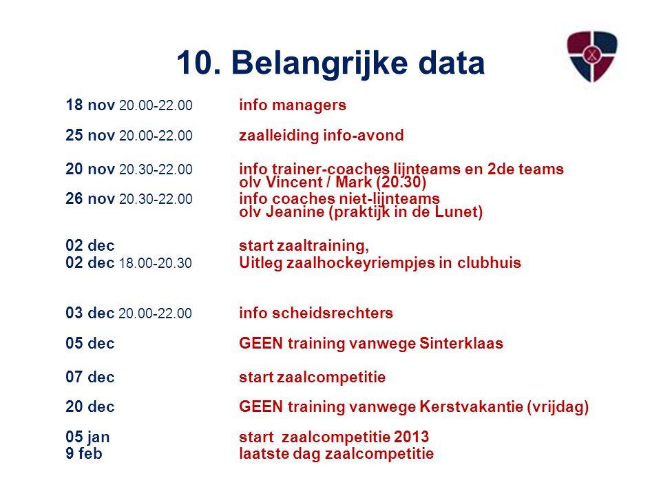10. Belangrijke data 18 nov 20.00-22.00 info managers 25 nov 20.00-22.00 zaalleiding info-avond 20 nov 20.30-22.00 info trainer-coaches lijnteams en 2