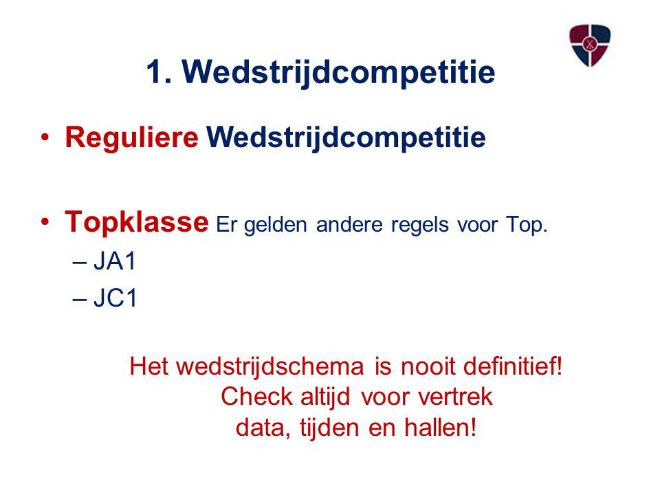 1. Wedstrijdcompetitie Reguliere Wedstrijdcompetitie Topklasse Er gelden andere regels voor Top.