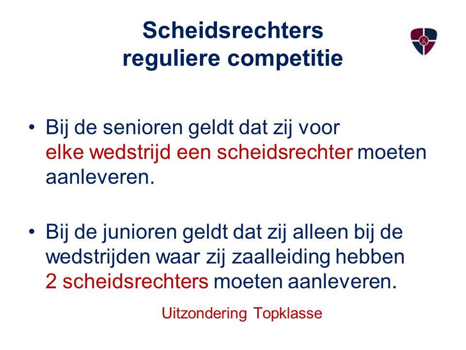 Scheidsrechters reguliere competitie Bij de senioren geldt dat zij voor elke wedstrijd een scheidsrechter moeten aanleveren.
