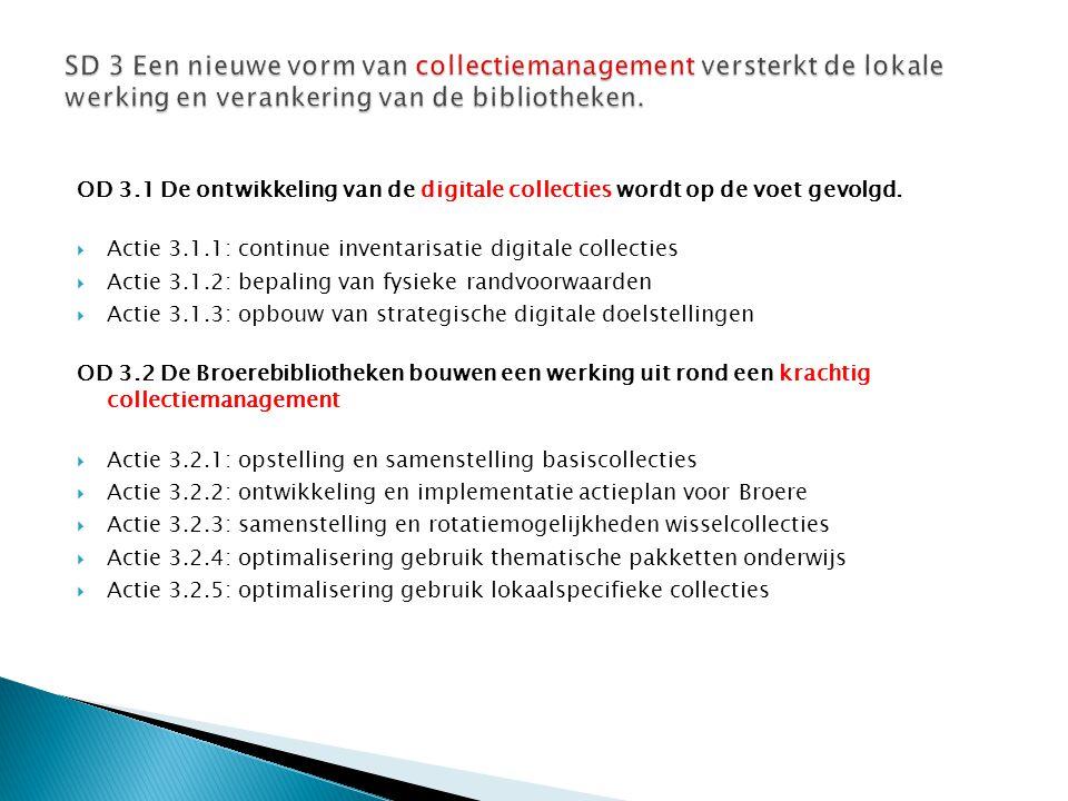 OD 3.1 De ontwikkeling van de digitale collecties wordt op de voet gevolgd.  Actie 3.1.1: continue inventarisatie digitale collecties  Actie 3.1.2: