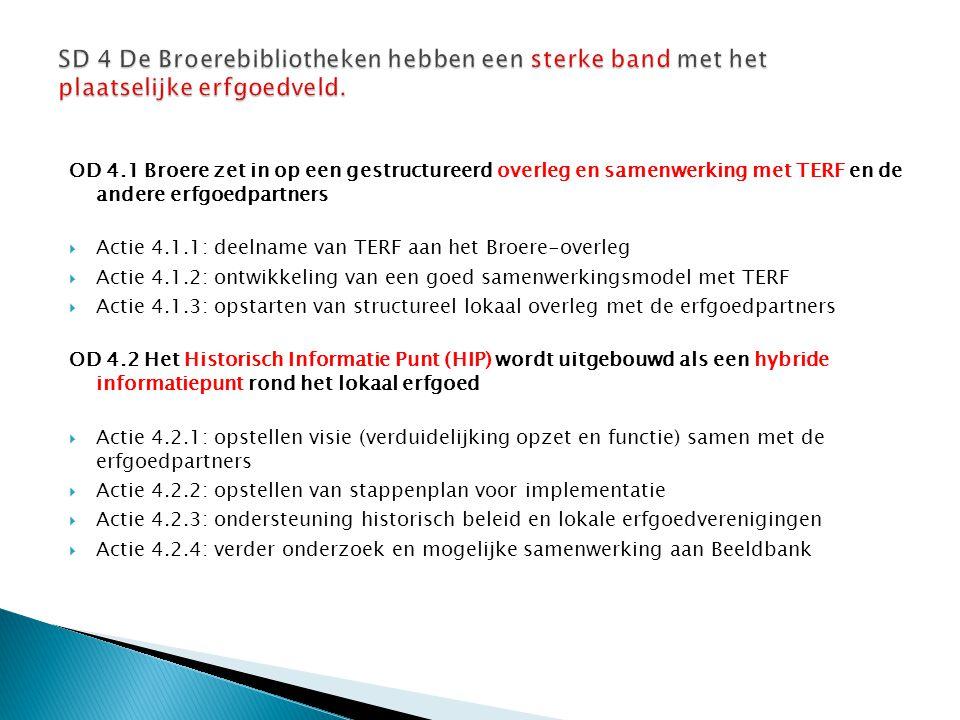 OD 4.1 Broere zet in op een gestructureerd overleg en samenwerking met TERF en de andere erfgoedpartners  Actie 4.1.1: deelname van TERF aan het Broe