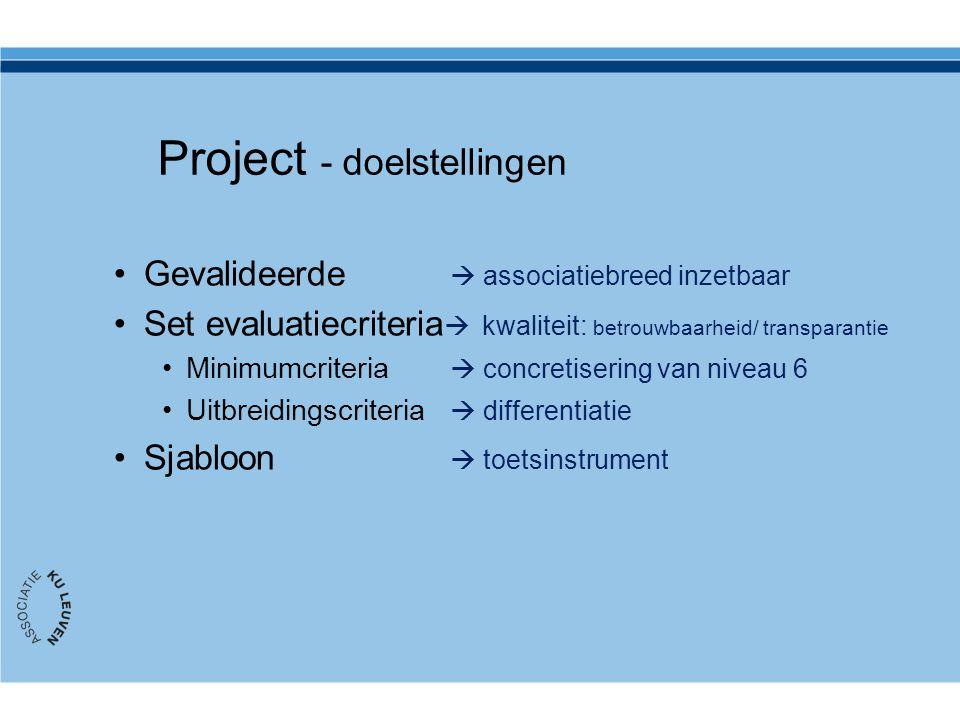 Project - doelstellingen Gevalideerde  associatiebreed inzetbaar Set evaluatiecriteria  kwaliteit: betrouwbaarheid/ transparantie Minimumcriteria 