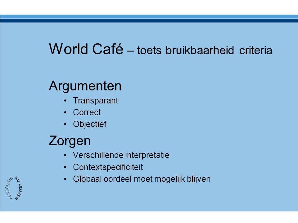 World Café – toets bruikbaarheid criteria Argumenten Transparant Correct Objectief Zorgen Verschillende interpretatie Contextspecificiteit Globaal oor