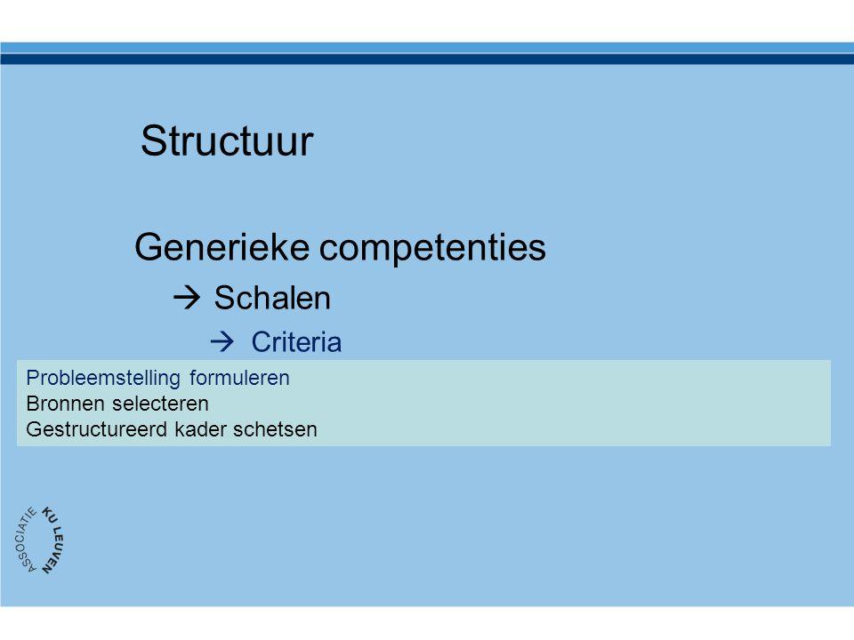 Structuur Generieke competenties  Schalen  Criteria  Toetsvormen/niveau Probleemstelling formuleren Bronnen selecteren Gestructureerd kader schetse