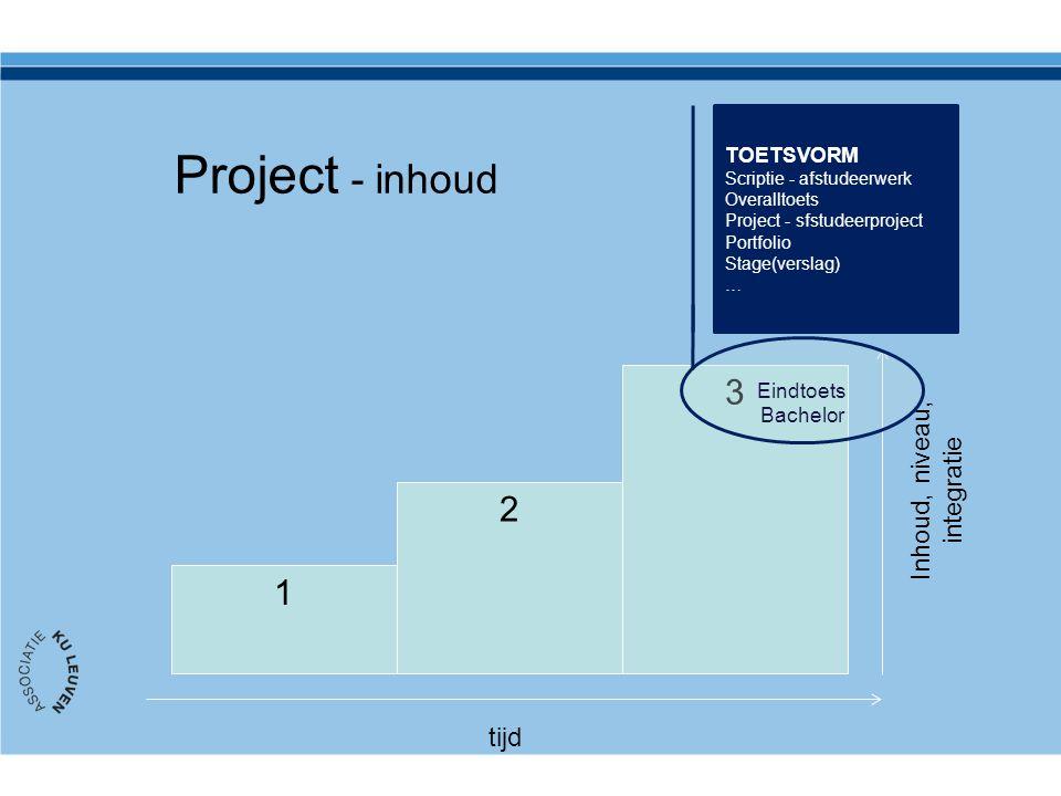 Project - inhoud 1 2 3 tijd Inhoud, niveau, integratie TOETSVORM Scriptie - afstudeerwerk Overalltoets Project - sfstudeerproject Portfolio Stage(vers