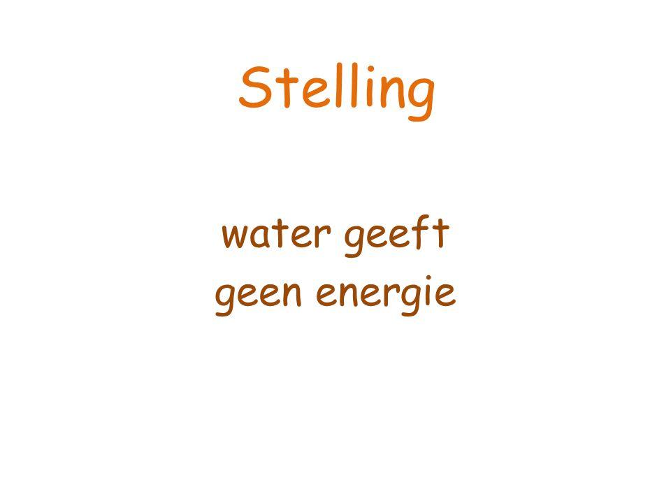Stelling water geeft geen energie