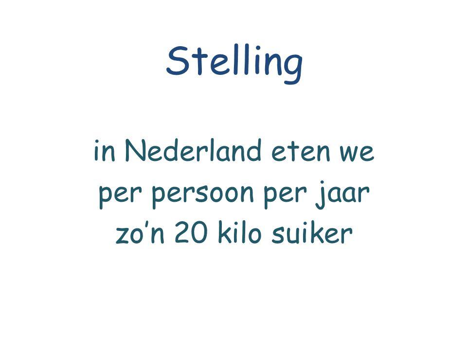 Stelling in Nederland eten we per persoon per jaar zo'n 20 kilo suiker