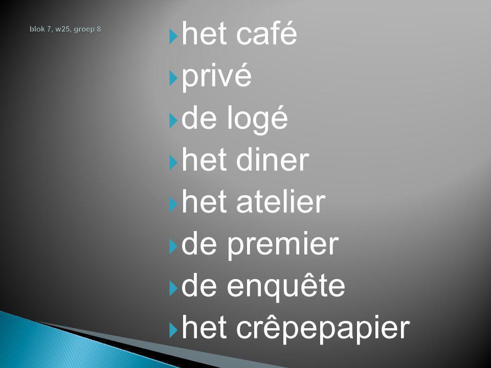  het café  privé  de logé  het diner  het atelier  de premier  de enquête  het crêpepapier