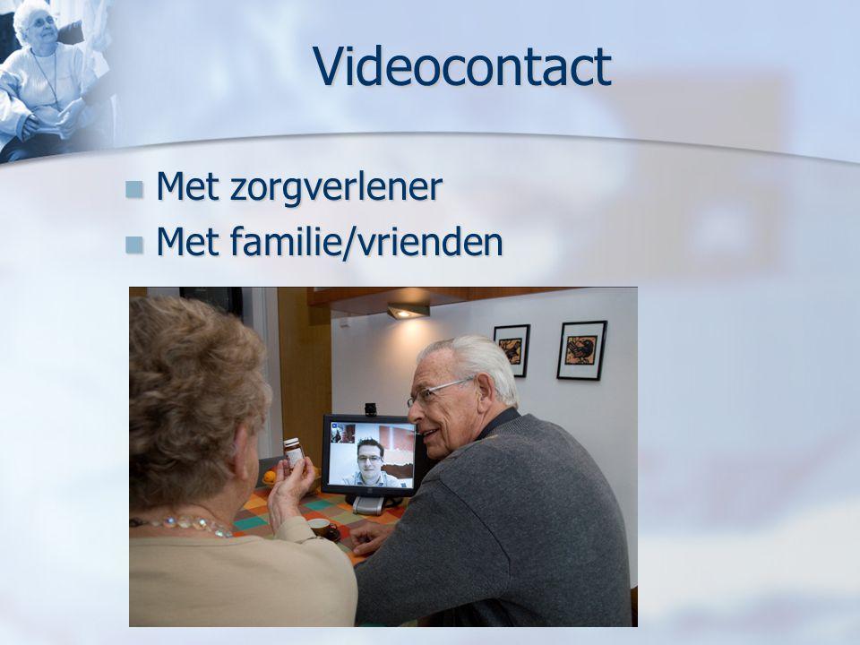 Videocontact Met zorgverlener Met zorgverlener Met familie/vrienden Met familie/vrienden