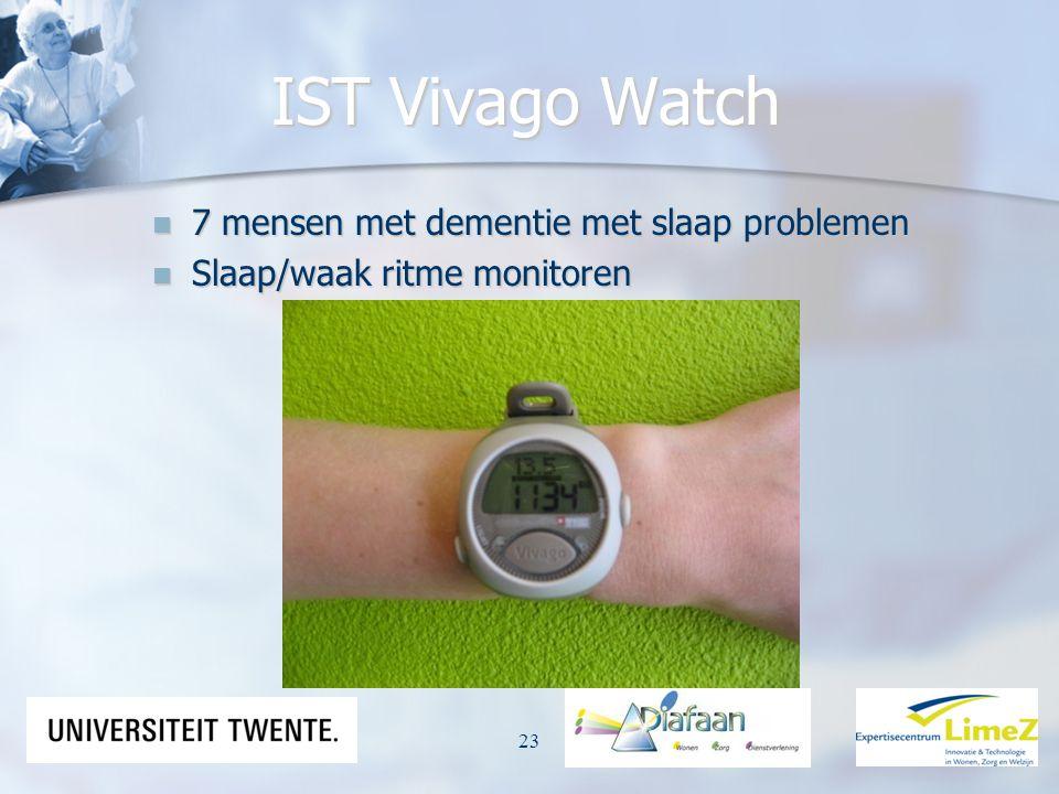 IST Vivago Watch 7 mensen met dementie met slaap problemen 7 mensen met dementie met slaap problemen Slaap/waak ritme monitoren Slaap/waak ritme monit